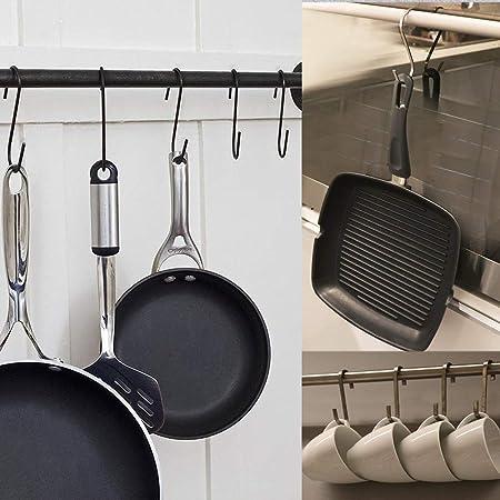 Afunta - 25 ganchos en forma de S para colgar plantas, barras de armario, cacerolas de cocina, accesorios pesados, ganchos de metal resistentes, ...