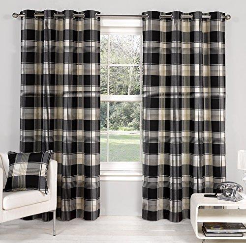 Hamilton McBride Hamilton Check Ebony Ring Top / Eyelet Fully Lined Readymade Curtain Pair 66x72in(167x182cm) Approx by Hamilton McBride