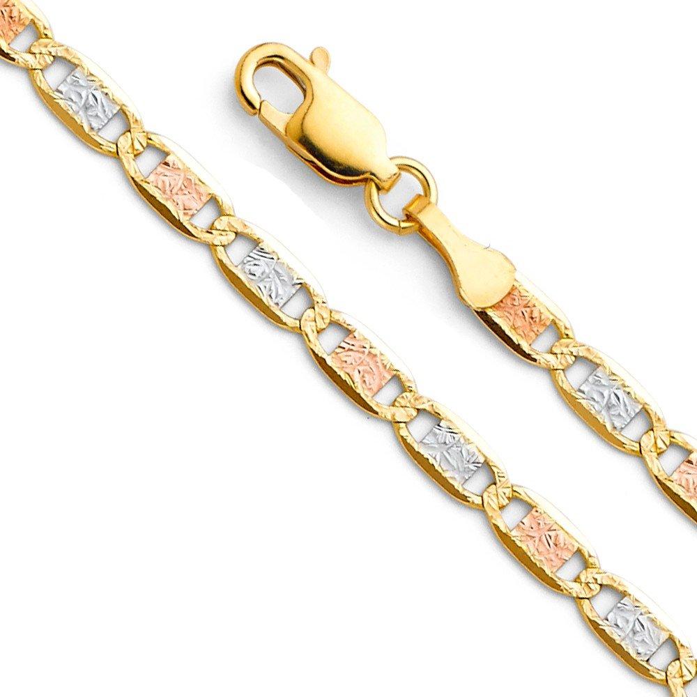 Paradise Jewelers 14K en Or Massif 3,3mm Valentino Chaîne Fermoir Mousqueton