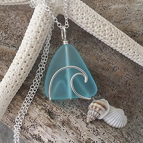 Handmade in Hawaii, wire wrapped ocean wave blue sea glass necklace, sterling silver chain, FREE gift wrap, FREE gift message, FREE shipping