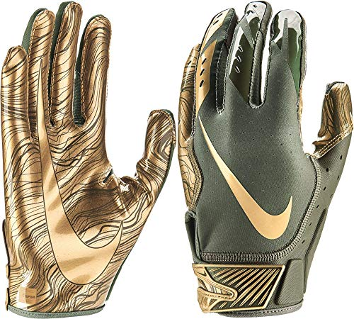 NIKE Adult Vapor Jet 5.0 Receiver Gloves 2018 (Olive/Gold, Medium)