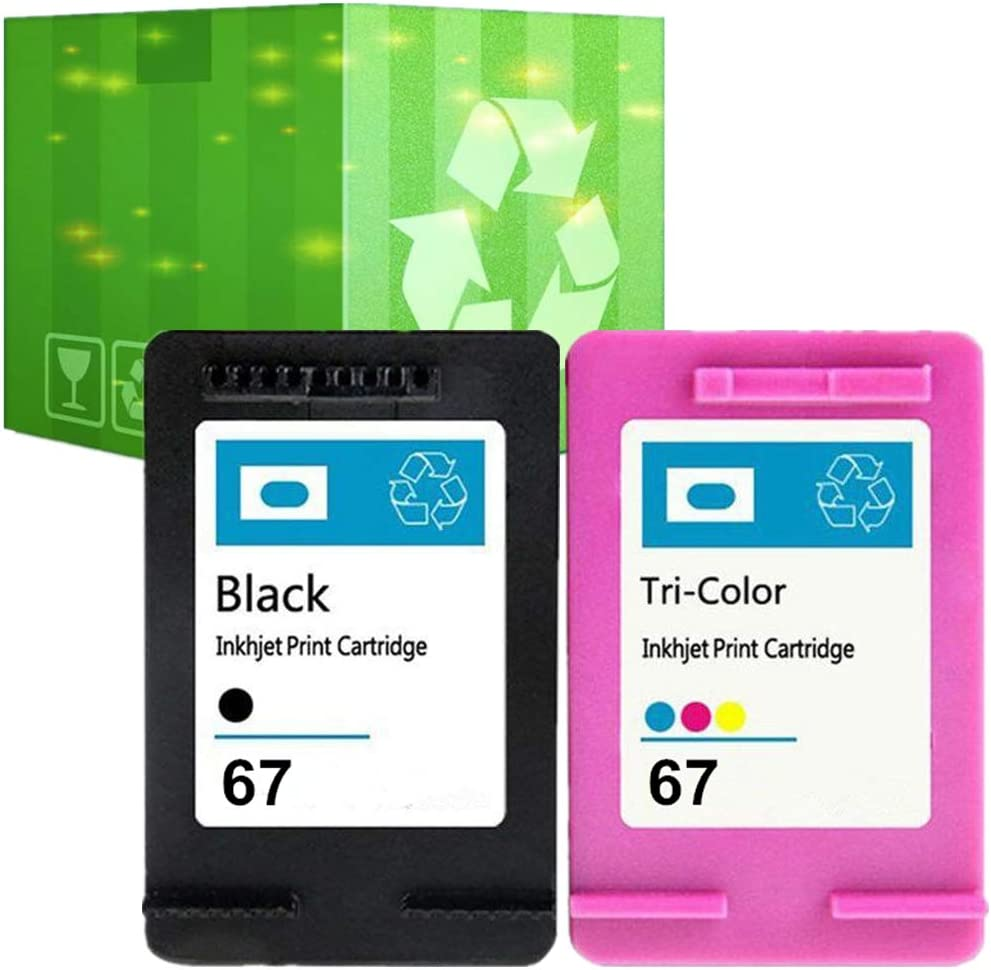 J2INK Remanufactured Ink Cartridge Replacement for HP 67 3YM56AN 3YM55AN Black Tri-Color 2 Pack Ink Cartridge Envy 6052 6055 6058