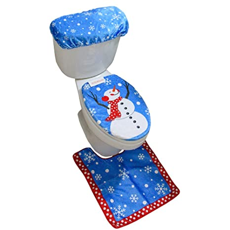 Brilliant Mrxlwhome Snowman Toilet Seat Cover Rug Set Of 3 Bathroom Blue Christmas Holiday Decorations Pabps2019 Chair Design Images Pabps2019Com