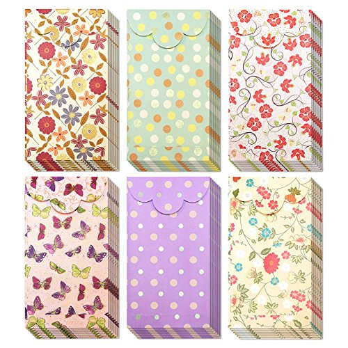 Juvale 60-Pack of Coin Envelopes - Small Colorful Money Envelopes, for Birthdays, Special Occasions, Gift-Giving, 6 Assorted Floral and Polka Dot Designs - 3.5 x 6.5 Inches