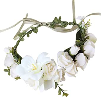 #14, Large Flower Headband Crown ZWOOS 4 Pieces Flower Headband with Elastic Ribbon Floral Garland for Festival Wedding Party