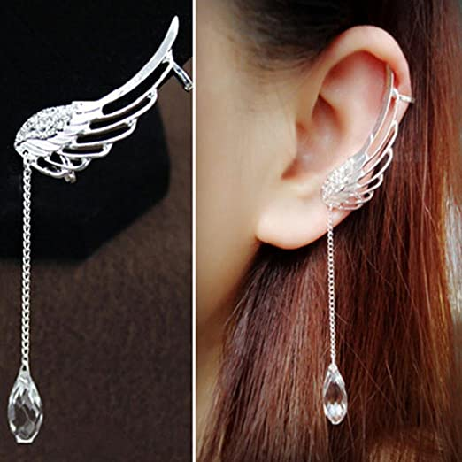 Orangesky Charm Elegant Angel Wing Crystal Earrings Drop Dangle Ear Stud Cuff Clip