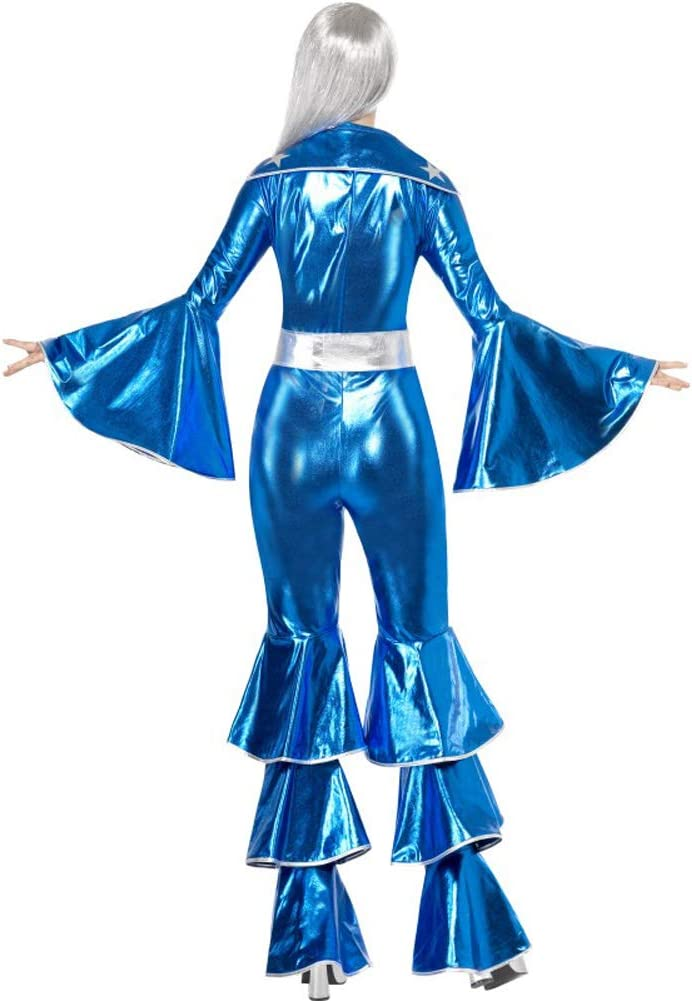 Smiffys Costume Dancing Dream anni 70 include tuta allacciata blu