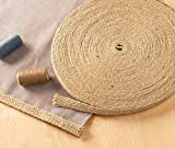 Burlap Ribbon - 25-Yard Natural Jute Ribbon Roll, Burlap Spool with Twine Twisted Hemp Rope Strings for Arts and Crafts, DIY Wedding Decorations, 0.5 inches Wide
