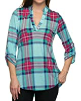 Merdoly Women's Blouse Casual Plaid V Neck 3/4 Sleeve T-shirts Pullover Tops