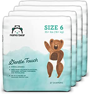 Amazon Brand - Mama Bear Gentle Touch Diapers, Hypoallergenic, Size 6, 108 Count (4 packs of 27)