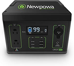 Newpowa Portable Power Station, 280WH Backup Lithium Battery 300W (Peak 600W) AC Outlets & LED Flashlight, Clean & Silent Solar Generator Pure Sine Wave for Outdoor Camping RV Emergencies CPAP Home