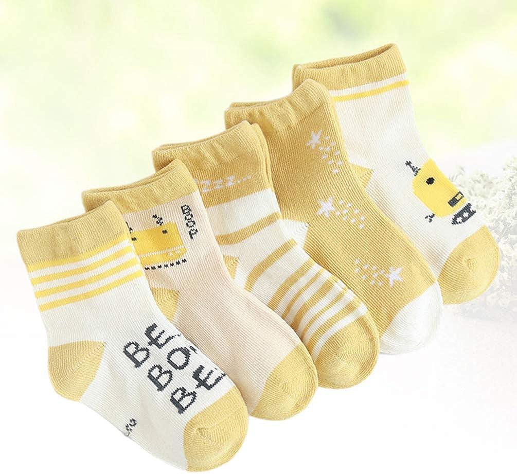 Fenical 5 paires de chaussettes /à th/ème monstre /étudiants genou bas tube moyen chaussettes en coton hiver automne pour enfants de 1 /à 3 ans taille s