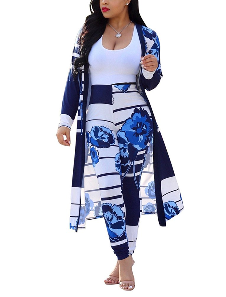 Dreamparis Floral Pant Suits for Women - Long Sleeve Cardigan Cover up + Skinny Long Pants Large Blue