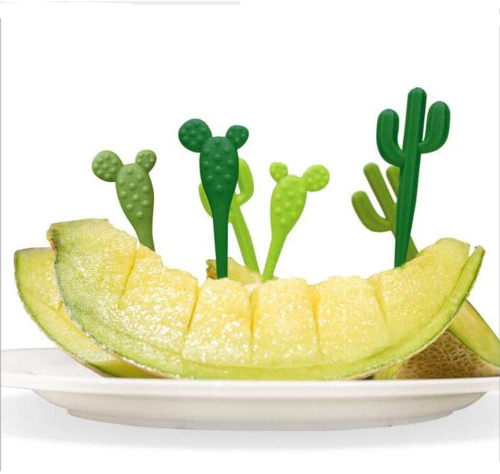 NUOMI Set of 12 Food Picks Cute Cactus Shaped Fruit Forks Food Grade Plastic Plants Dinner Tool Bento Decoration for Party Home Picnic Teatime Cocktail, Green