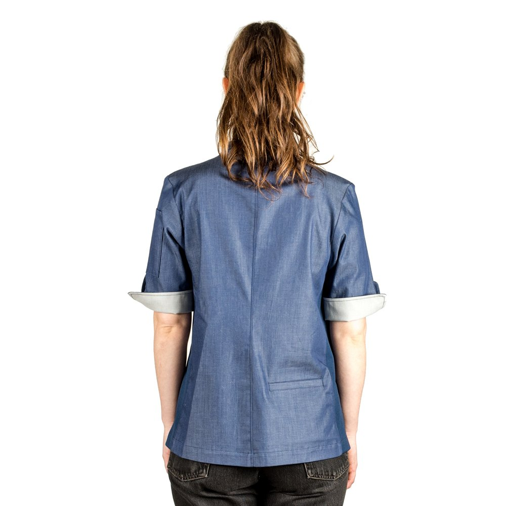 Crew Apparel Women's Chef Coat The Stephany Made In America (X-Large, Navy) by Crew Apparel (Image #2)