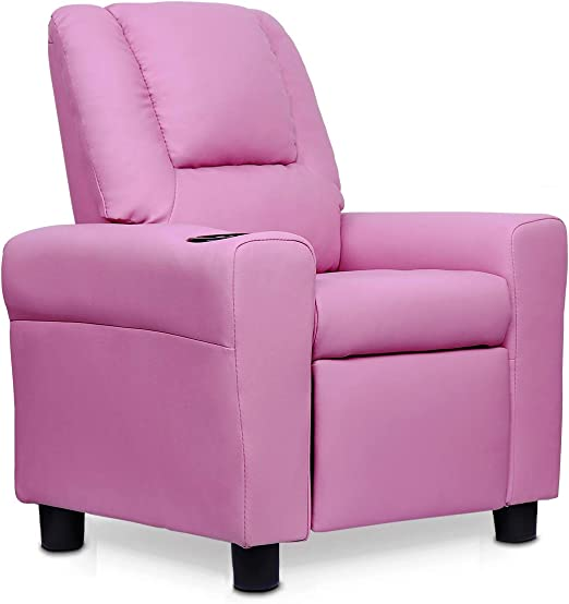 Kids Recliner Chair,Toddler Recliner with Cup Holder and Headrest, PU Leather Baby Recliner Pink
