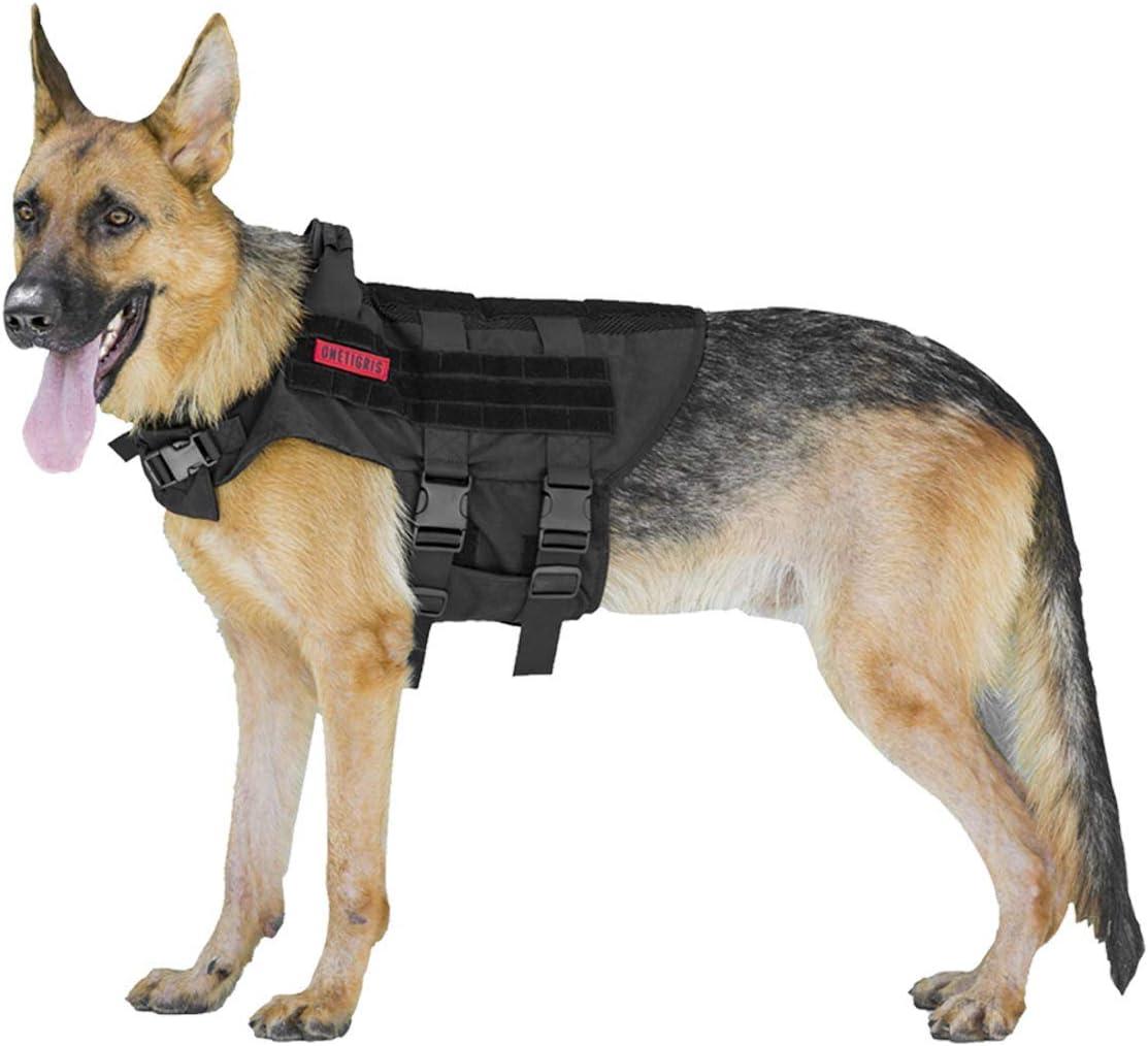 OneTigris K9 Tactical Dog Harness Patrol Dog Vest with Neck Protection Straps