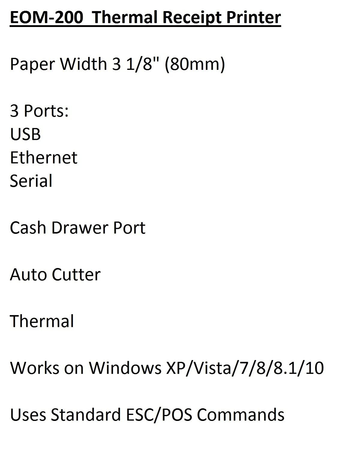 EOM-POS Thermal Receipt Printer - USB, Ethernet/LAN, Serial Ports - Auto  Cutter - Beeper/Buzzer- Cash Drawer Port - Paper Width 3 1/8
