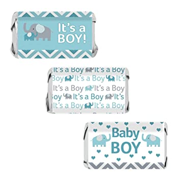 Teal Blue And Gray Elephant Boy Baby Shower Miniatures Candy Bar Wrapper  Stickers (Set Of