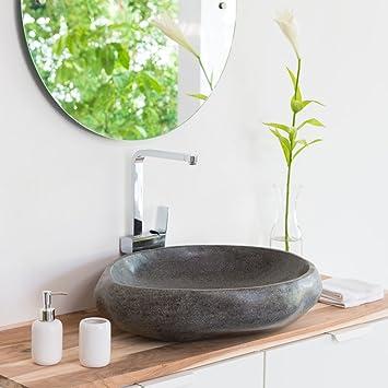 Waschbecken rund stein  WOHNFREUDEN Naturstein Waschbecken rund oval 60 cm ♥ Top Qualität ...