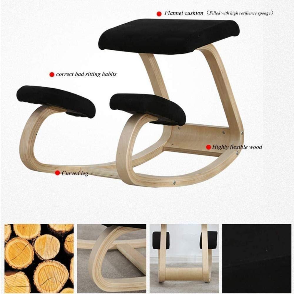 Kontorsstol knästol gungstol hållning träpall skrivbordsstol ortopedisk pall lindrar ryggnacksmärta knästol (färg: svart) Grått