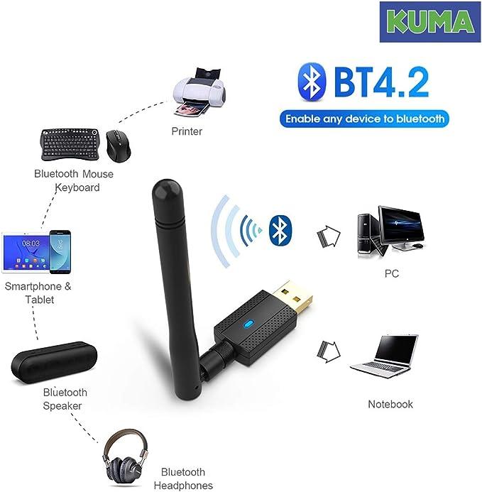 KUMA Tarjeta de Red Bluetooth USB WiFi Adaptador - 600Mbps Wi-Fi Dongle con Antena Amplificador 2DBI - Pincho Inalámbrico Doble Banda 2.4Ghz - ...