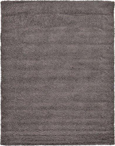 Unique Loom Solo Solid Shag Collection Modern Plush Graphite Gray Area Rug (9' 0 x 12' 0)