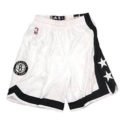90d729b1 adidas Brooklyn Nets NBA White Authentic On-Court Team Issued Home Pro Cut  Game Shorts