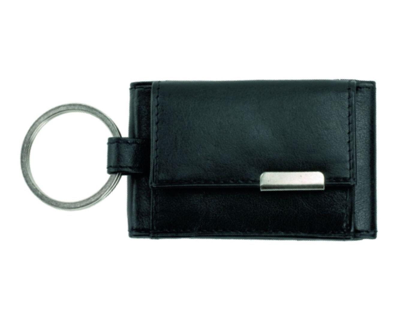 Alassio - 42133 - Mini-Börse mit Metallemblem, Echt Leder, schwarz