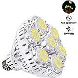 SANSI 40W Daylight LED Plant Light Bulb, Full Spectrum Ceramic LED Grow Light Blub, 63 LED Chips, E26 Socket, Indoor Gardening for the Home, Indoor Farming, Residential, Office Plants, Grow Walls