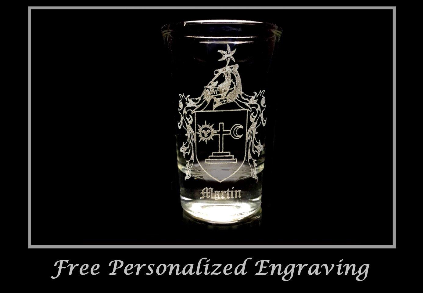 Free Personalized Engraving Irish Glass Celtic Decor Martin Irish Family Coat of Arms Shot Glass 2oz Set of 6