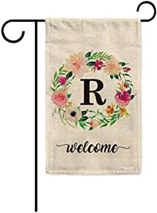 BAGEYOU Welcome Spring Watercolor Flowers Wreath Garden Flag Monogram Letter R Decor Banner for Outside 12.5x18 Inch Print Double Sided