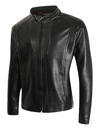 Amazon.com: jueshanzj hombre chaquetas de piel sintética ...