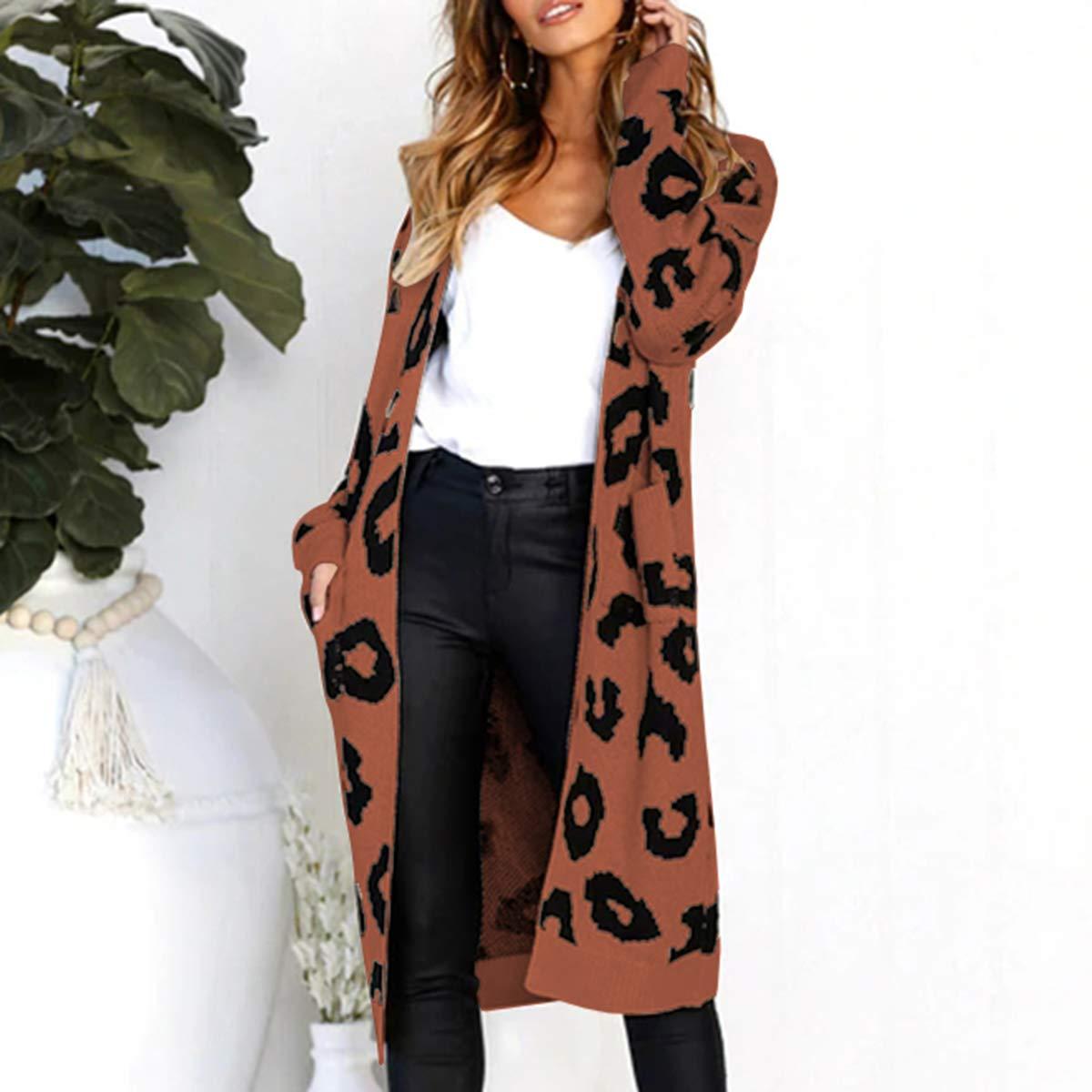 Borlai Cardigan Donna Manica Lunga Leopardata Cappotti Giacche per Autunno Casual Maglia Maglione Cappotto con Tasche