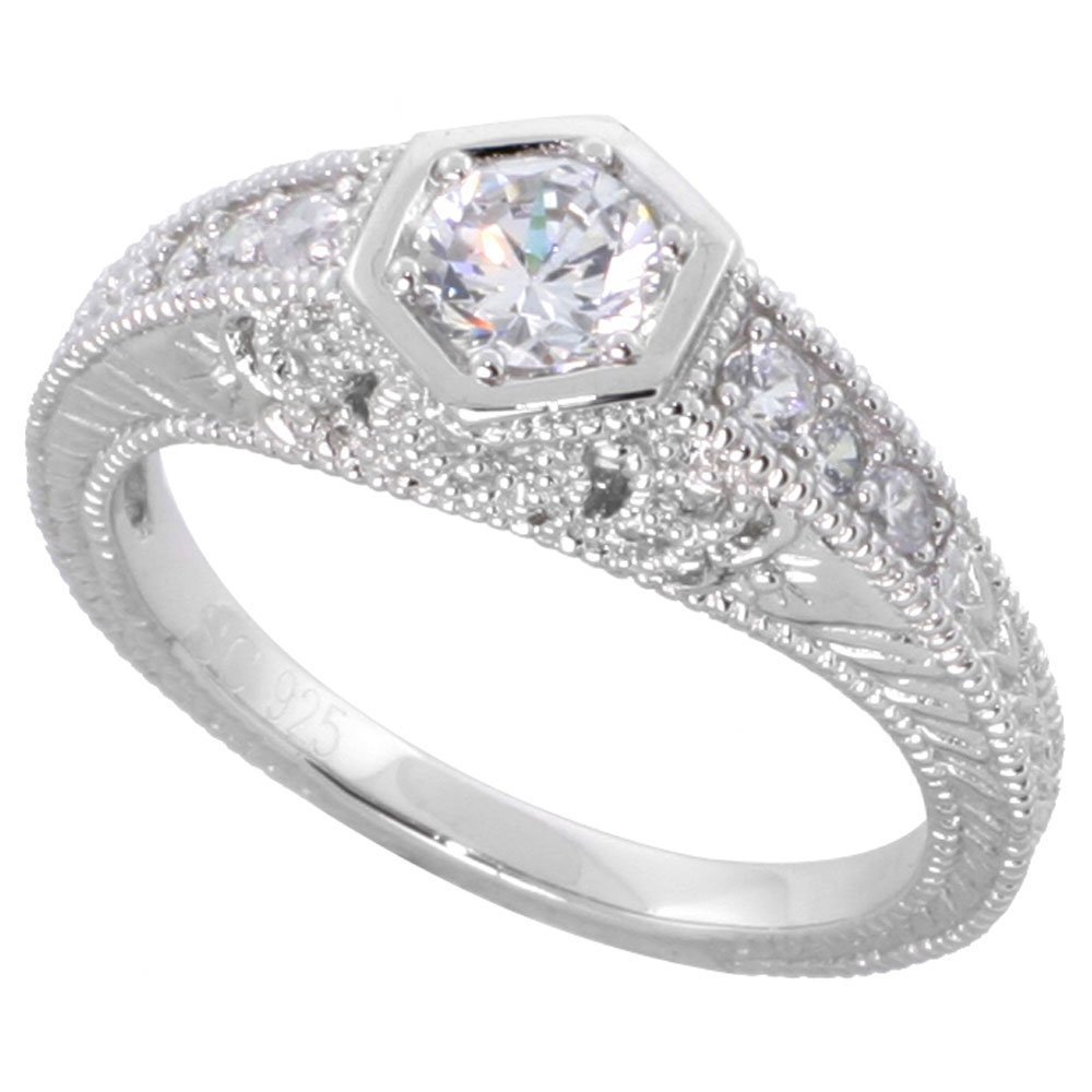 Sterling Silver Vintage Style Cubic Zirconia Engagement Ring Round ¼ ct Center, size 7