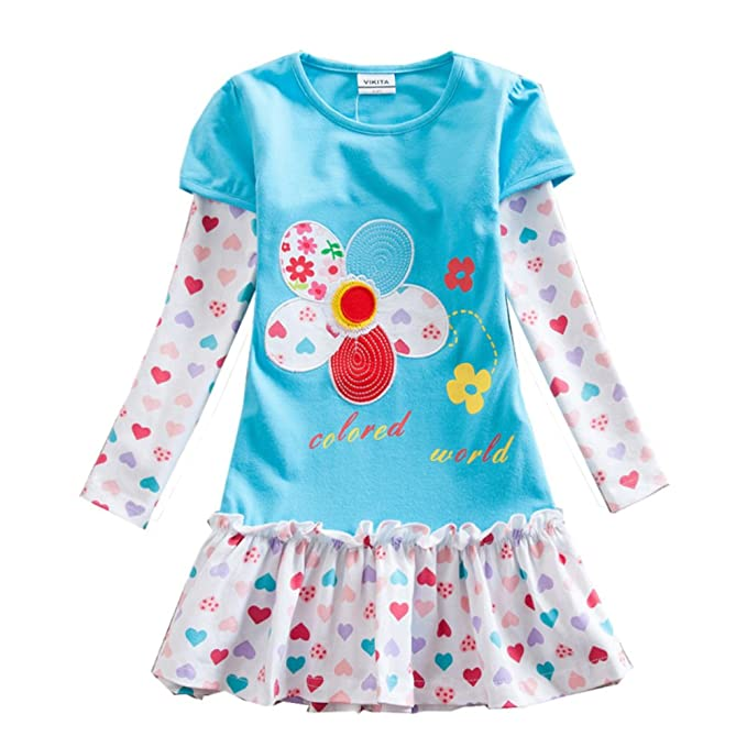 75744fc39538 Amazon.com  VIKITA 2018 Toddler Girls Winter Dresses Long Sleeve ...