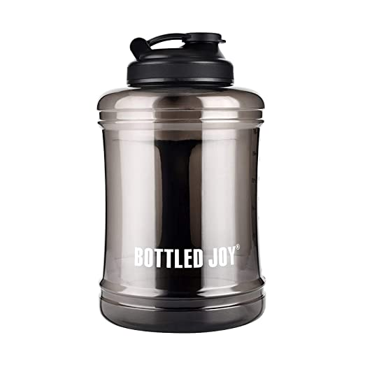 ONTA Bottled Joy Large Water Bottle 85oz 2.5l,BPA Free,Leak Proof,Large Capacity Sports Drinking Water Bottle with Handle Jug Eco Friendly Container,Training Home Gym Outdoor-Transparency Black