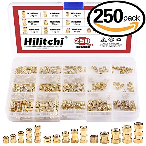 Hilitchi 250-Pcs M2 / M3 /M4 Female Thread Brass Knurled Threaded Insert Embedment Nuts Assortment Kit - Brass Thread