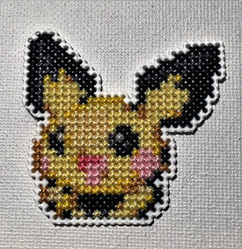(Pichu Face Cross Stitched Magnet)