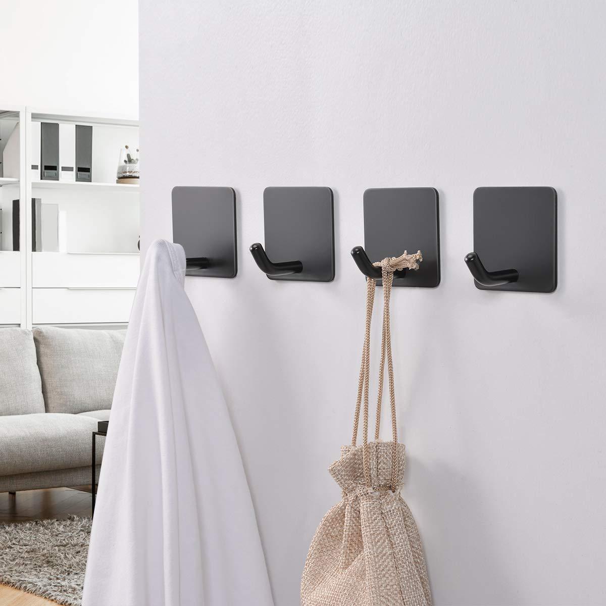 FLE Towel Hooks Self-Adhesive Wall Single Hook Kitchen 4 Packs Stainless Steel Black Coat Robe Hooks for Bathroom
