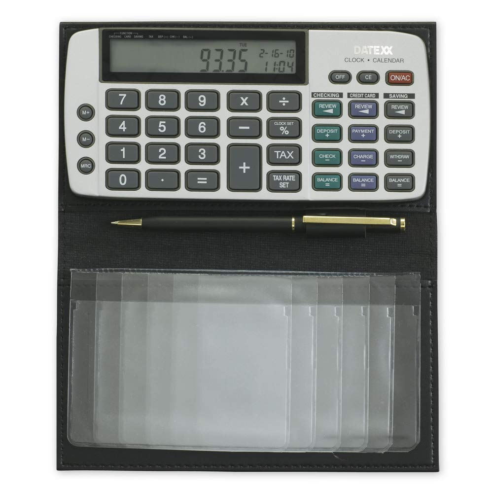 Datexx Battery Powered Checkbook Calculator - Tracks Up to 3 Accounts (1 Qty)