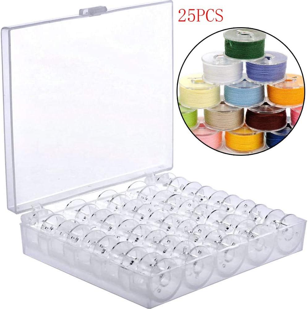 Mirrwin 25 Piezas Carrete de Coser de Plástico Transparente Vacías Bobinas de Máquinas de Coser Bobina de Plástico Vacía Bobinas con Caja de Almacenamiento Organizador para Una Fácil Organización