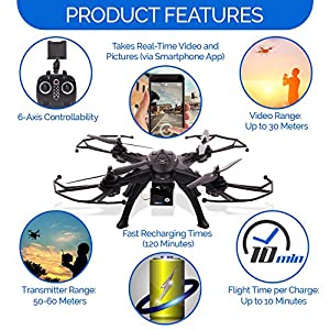 Virtuoso FPV Quadcopter Flying Drone with HD Camera (720p) 6-Axis Remote Control RC Toy w/ LED Lights, Long Flight Time | Beginner, Easy to Fly | Altitude Hold |Rechargeable Li-Po Battery 7.4v 1800mAh from Virtuoso Flying Machine