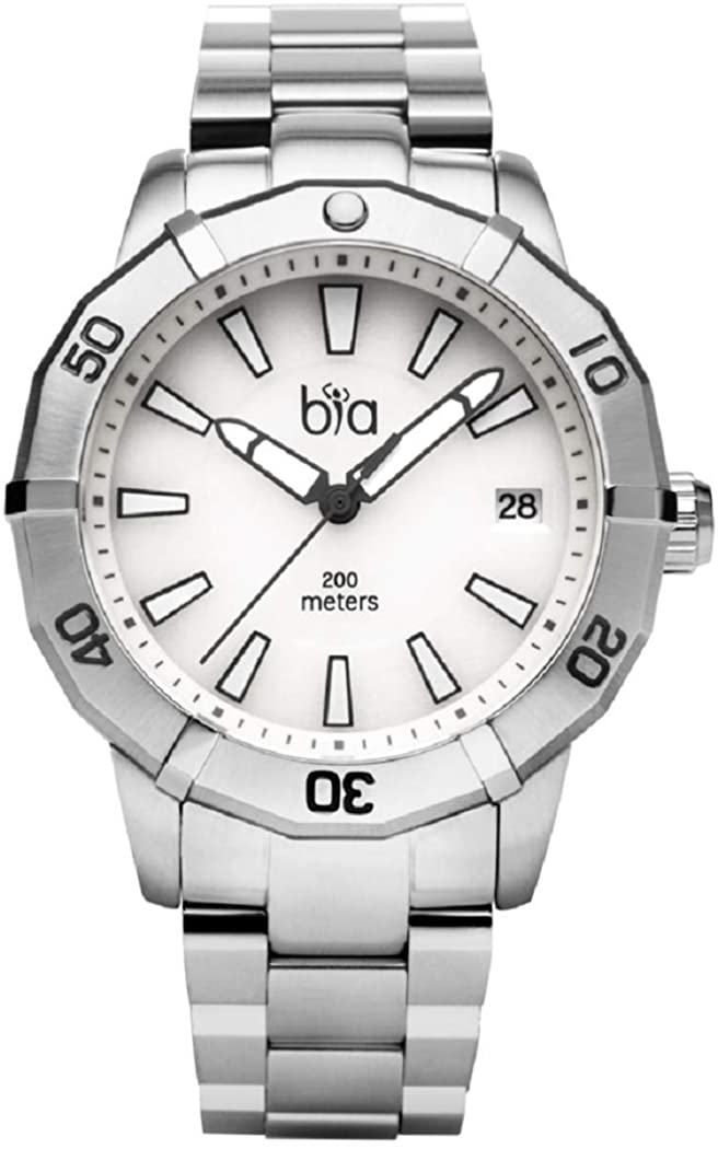 Bia Women's Rosie Japanese Quartz Diving Watch with Stainless Steel Strap, Silver, 18 (Model: B2011)