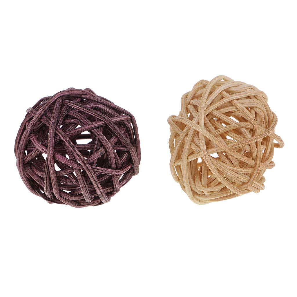 non-brand Sharplace 30 Piezas Bolas de Mimbre Bola de Hueco para Manualidad de Natural Hecho a Mano 3cm