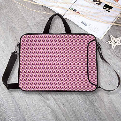 - Pink Decor Neoprene Laptop Bag,Overlapping Circles Dotted Design Vibrant Colored Sea Inspired Wavy Laptop Bag for Office Worker Students,15.4