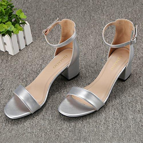Talon Pour Chaussures À Haut 6cm De Mariage Été Fête Sandales Carré Soirée Femme Argenté Qimaoo vqITFY