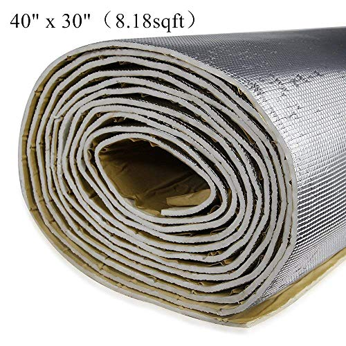 shinehome 6mm/236mil Car Heat Shield Sound Deadener Deadening Heat Insulation Mat Noise Insulation and Dampening Mat Heat Proof Mat 40
