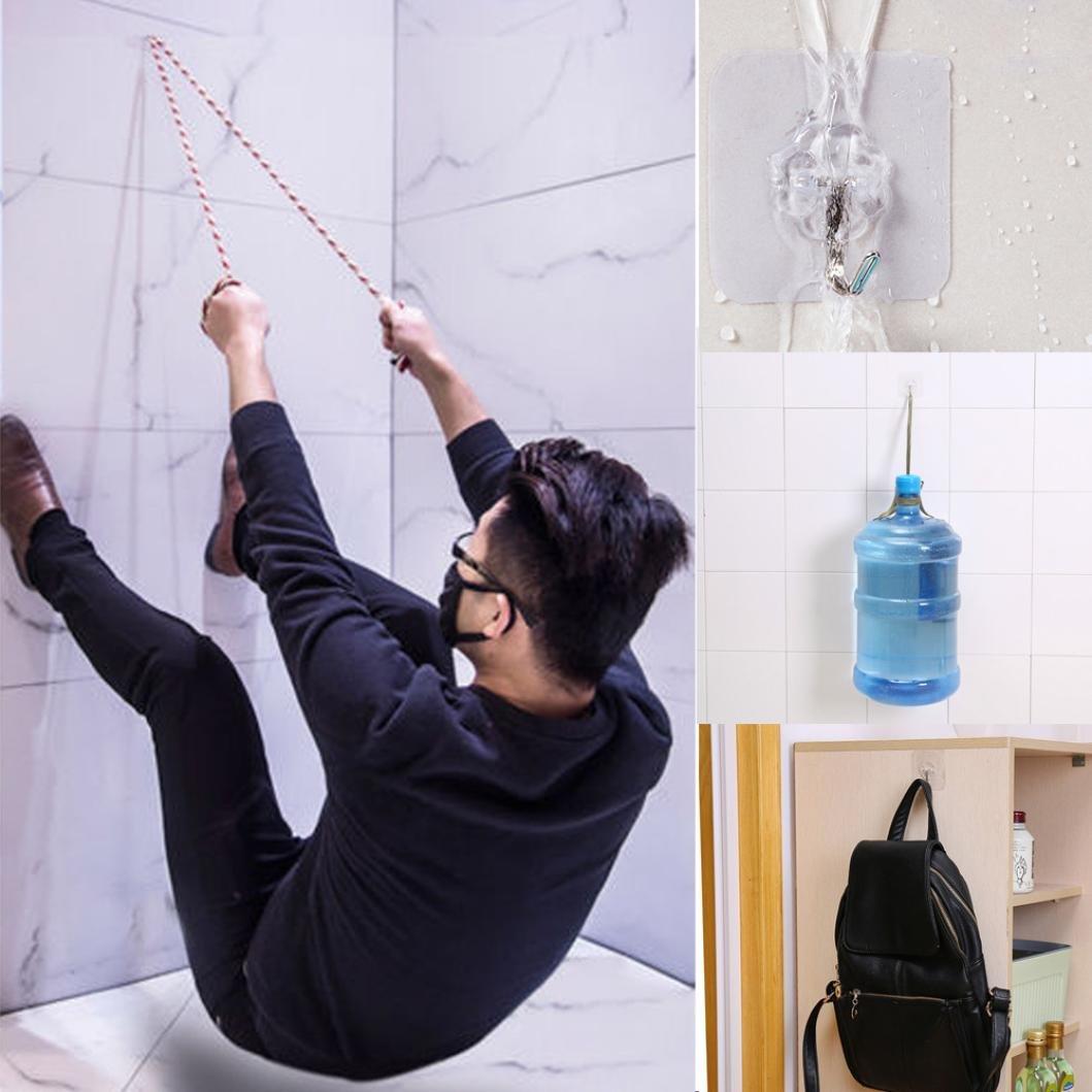 DZT1968 6xSuper Strong Transparent Suction Cup Sucker Wall Hooks Hanger For Kitchen Bathroom 6x6cm