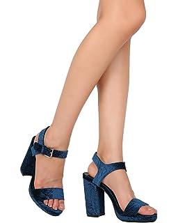 40263af6c721 Qupid Women Embossed Velvet Open Toe Platform Block Heel Ankle Strap Sandal  FI36 - Teal